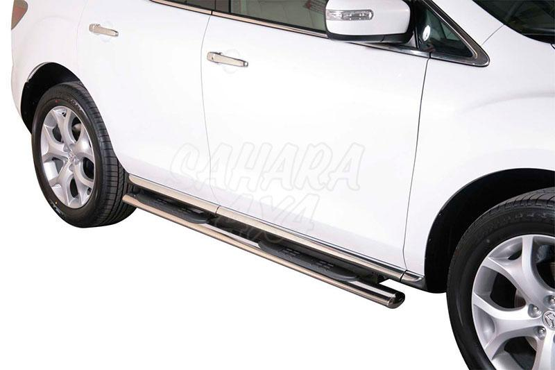 Pareja de estribos en tubo inox, sección oval, con pisantes para Mazda CX-7 2010- -