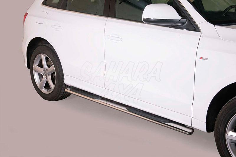 Pareja de estribos en tubo inox, sección oval, con pisantes para Audi Q5 2008-2014 -