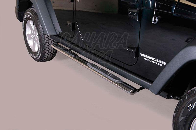 Estribos en tubo inox, sección oval, con pisantes para Jeep Wrangler JK 2011- -