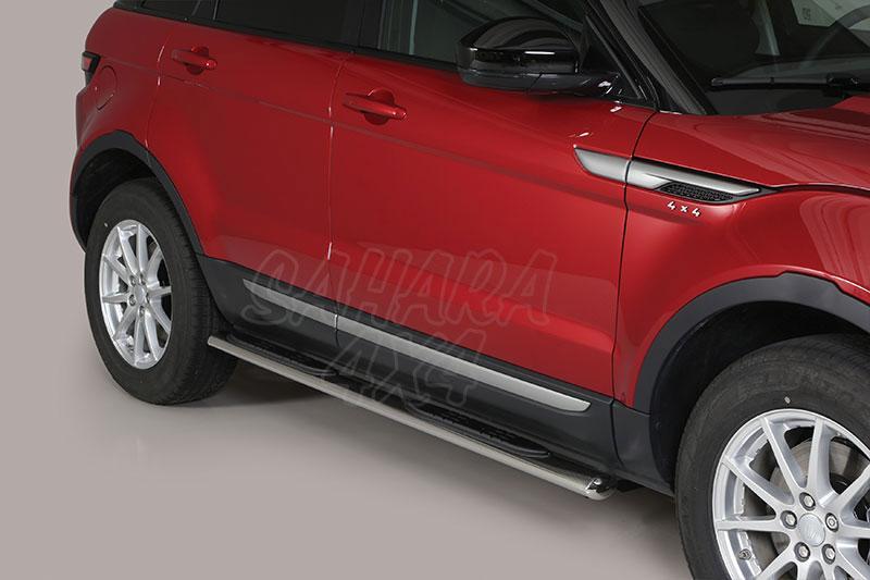Pareja de estribos en tubo inox, sección oval, con pisantes para Range Rover Evoque 2011- -