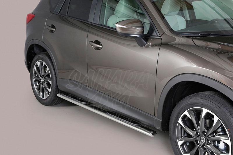 Pareja de estribos en tubo inox, sección oval, con pisantes para Mazda CX-5 2011-2015 -