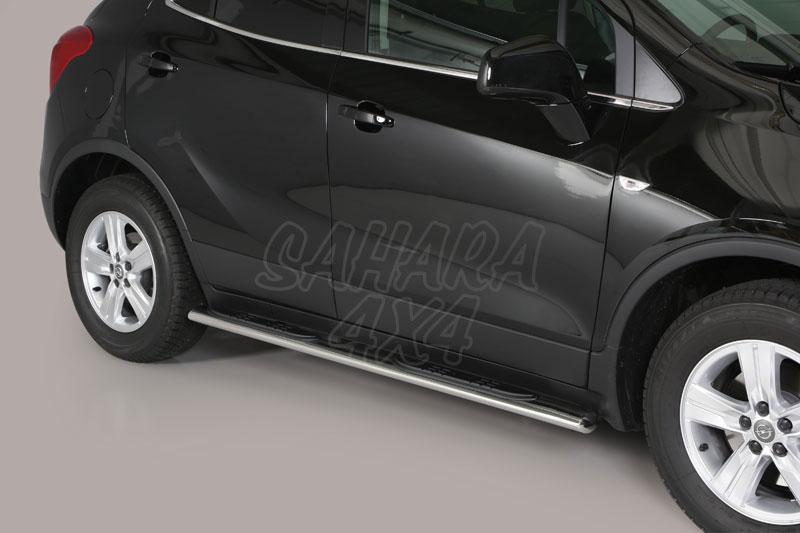 Pareja de estribos en tubo inox, sección oval, con pisantes para Opel Mokka 2012- -