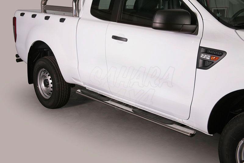 Estribos en tubo inox, sección oval, con pisantes para Ford Ranger 2012- - Extra cabina