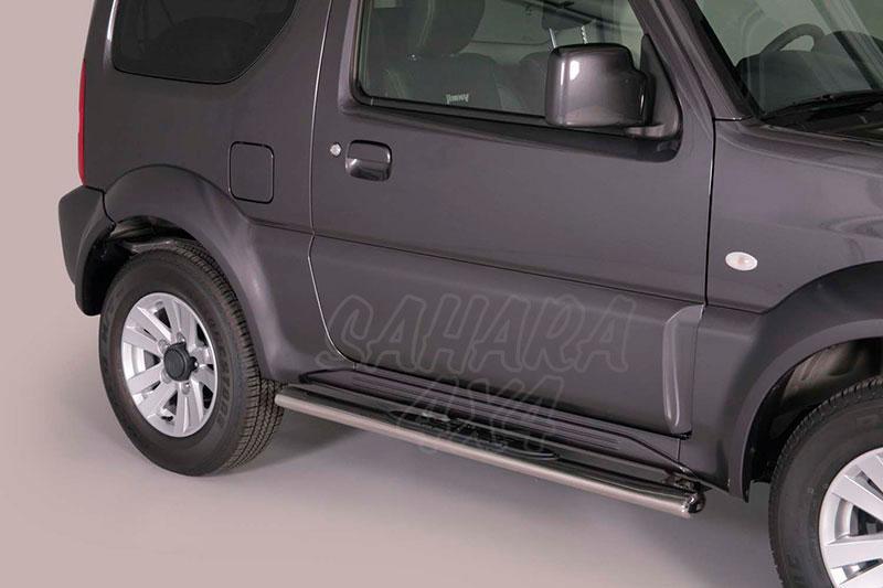 Pareja de estribos en tubo inox, sección oval, con pisantes para Suzuki Jimny 2003-  -