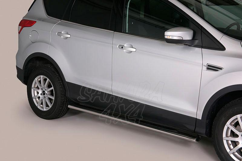 Pareja de estribos en tubo inox, sección oval, con pisantes para Ford Kuga 2013- -