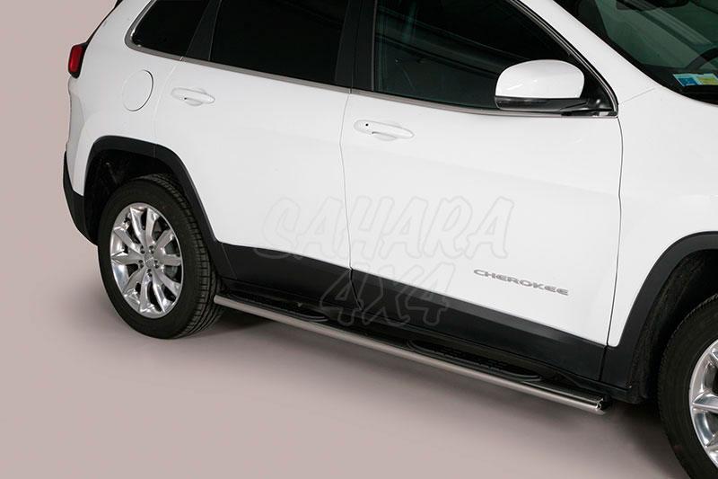 Estribos en tubo inox, sección oval, con pisantes para Jeep Cherokee 2014- -