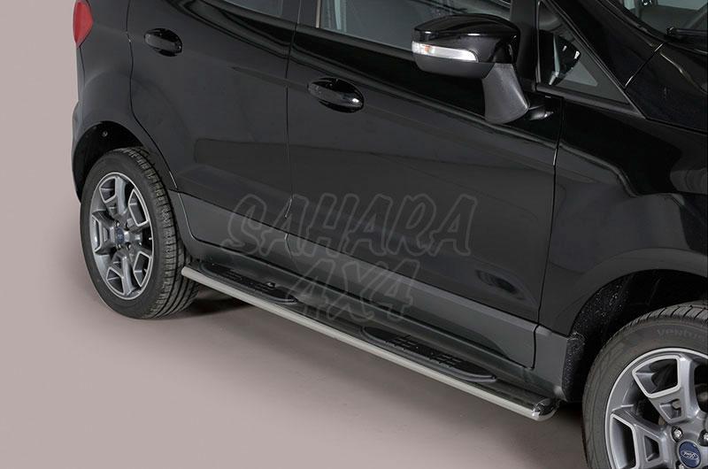 Pareja de estribos en tubo inox, sección oval, con pisantes para Ford EcoSport 2014- -
