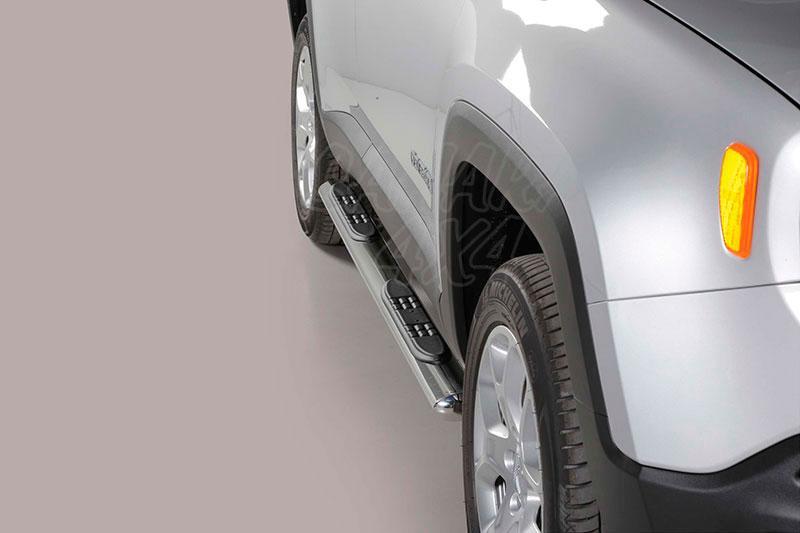 Estribos en tubo inox, sección oval, con pisantes para Jeep Renegade 2014- -