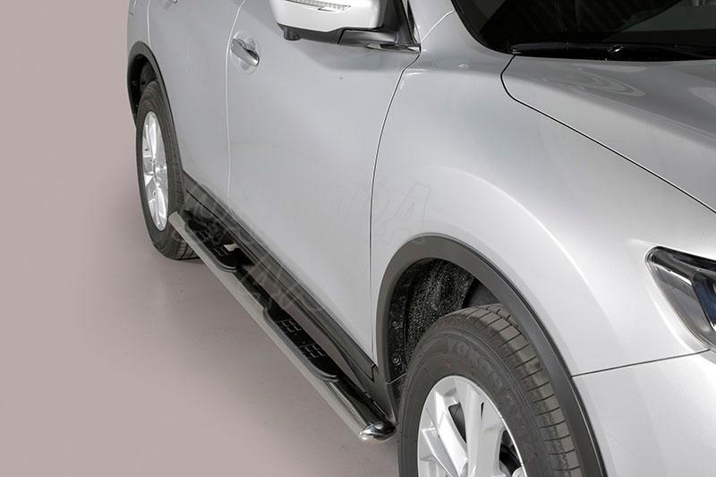 Pareja de estribos en tubo inox, sección oval, con pisantes para Nissan X-Trail 2014- -