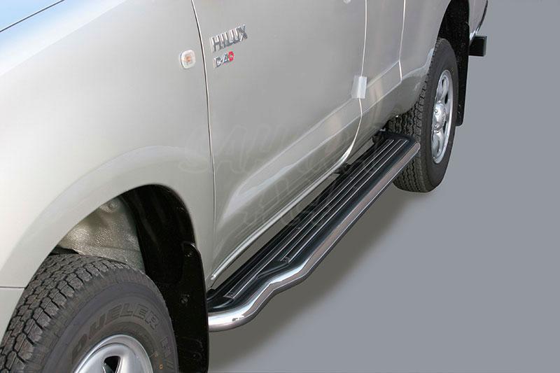 Estribos en plataforma con tubo inox Ø50mm para Toyota Hilux Vigo 2005-2016 - Para Extra cabina