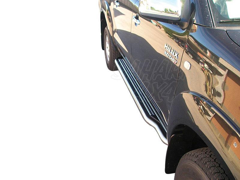 Estribos en plataforma con tubo inox Ø50mm para Toyota Hilux Vigo 2005-2016 - Para Doble cabina