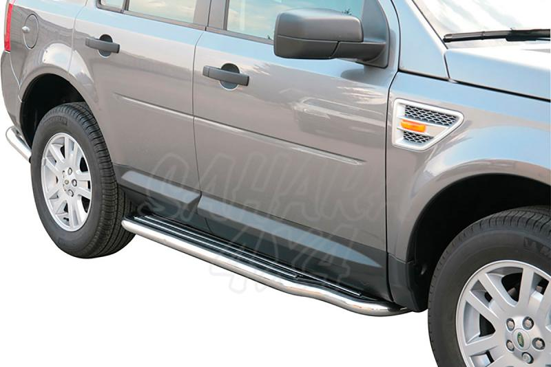 Estribos en plataforma con tubo inox Ø50mm para Land Rover Freelander II 2006- -