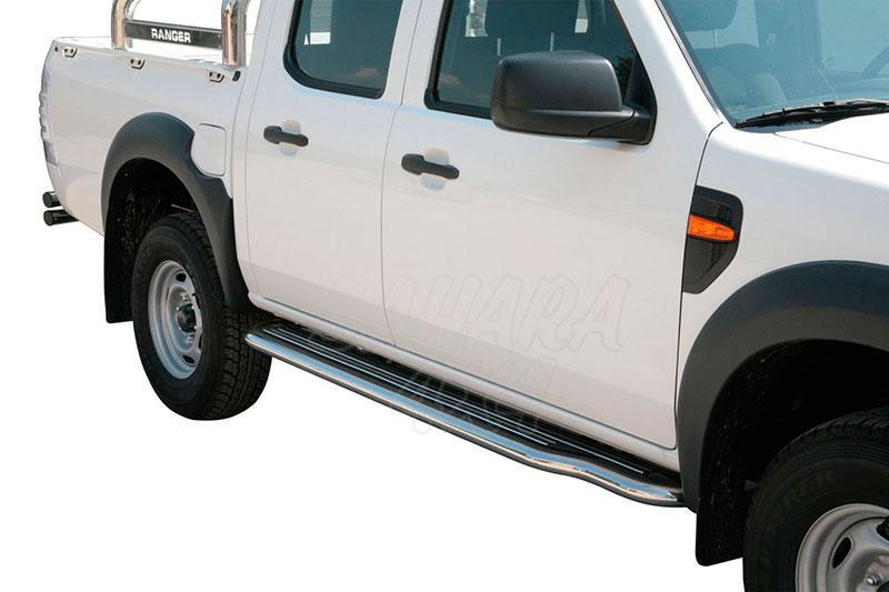 Estribos en plataforma con tubo inox Ø50mm para Ford Ranger 2009-2012 -