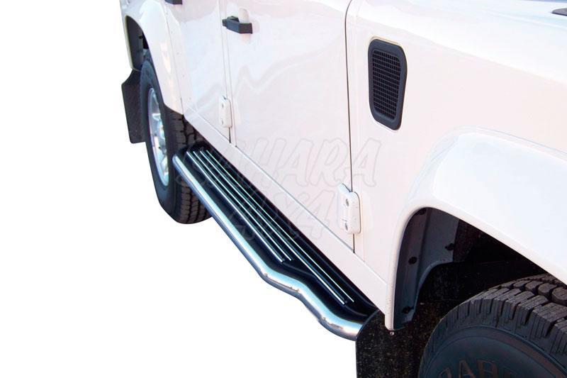 Estribos en plataforma con tubo inox Ø50mm para Land Rover Defender 110 1983- -