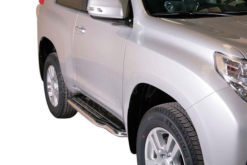 Estribos en plataforma con tubo inox Ø50mm para Toyota LandCruiser 155 - Para 3 puertas