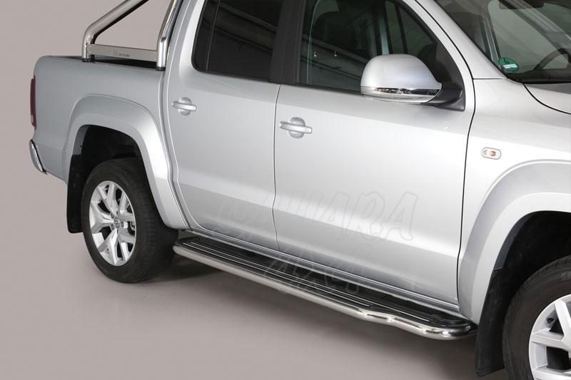 Estribos en plataforma con tubo inox Ø50mm para Volkswagen Amarok 2010- -