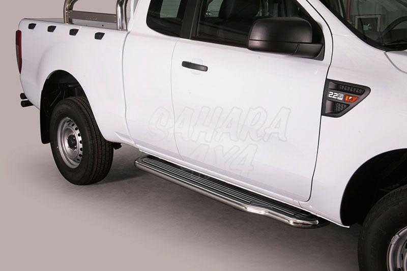 Estribos en plataforma con tubo inox Ø50mm para Ford Ranger 2012- - Extra cabina