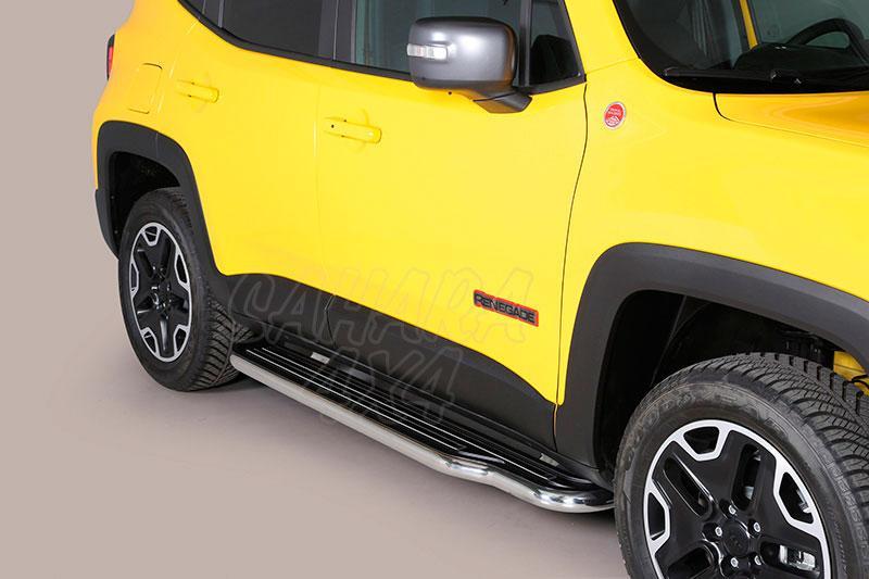 Estribos en plataforma con tubo inox Ø50mm para Jeep Renegade 2014- -