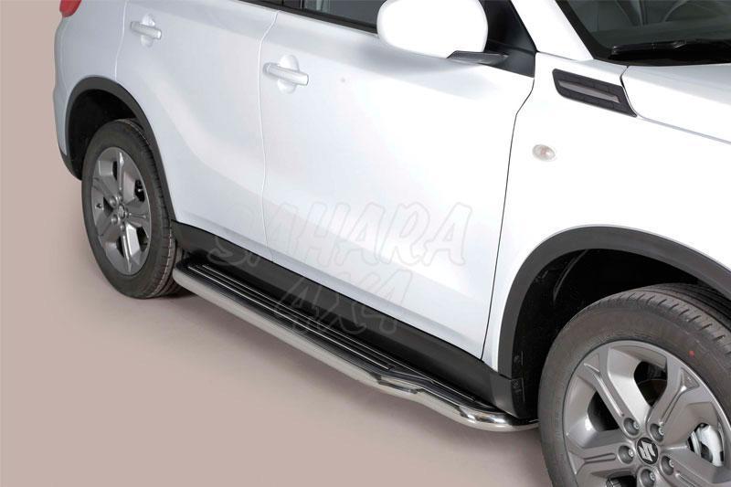 Estribos en plataforma con tubo inox Ø50mm para Suzuki Vitara 1996-2005 - Para 3 puertas con motor 1.9TD (Imagen no contra actual)