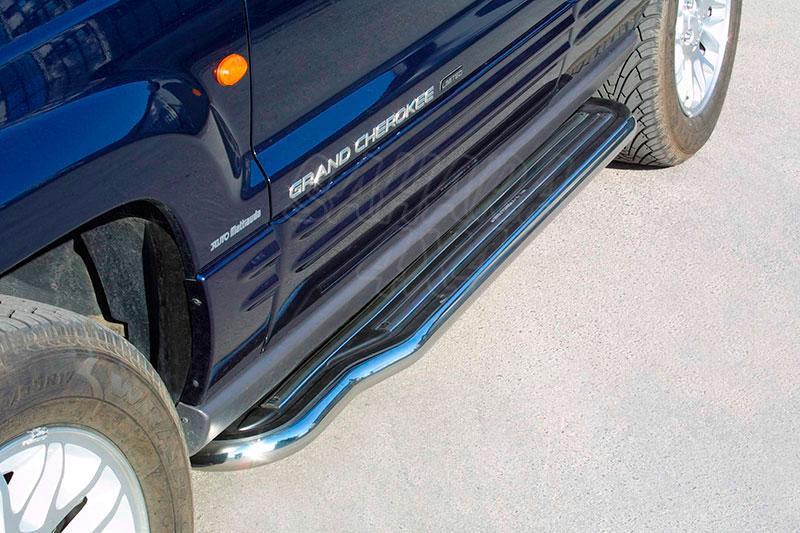 Estribos en plataforma con tubo inox Ø50mm para Jeep Grand Cherokee WJ 1999-2004 -