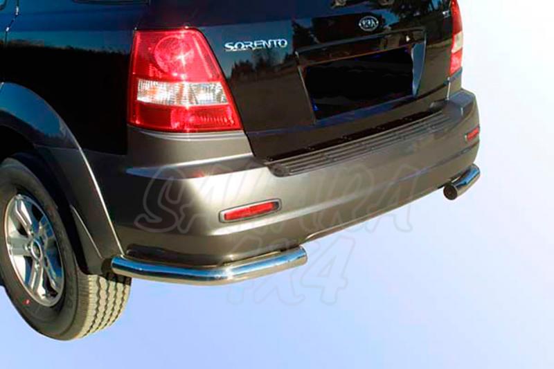 Protector inferior de esquinas traseras en tubo inox Ø63mm para Kia Sorento 2002-2006 -