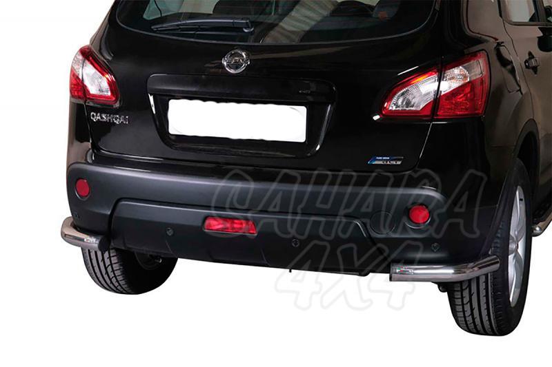 Protector inferior de esquinas traseras en tubo inox Ø63mm para Nissan Qashqai 2010-2014 -
