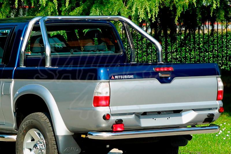 Rollbar en acero inox 76mm, con traviesa lateral para Mitsubishi L-200 1996-2006 - Para Doble y Simple cabina. (imagen no contra actual)
