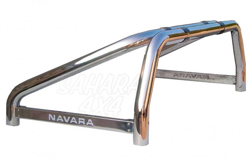 Rollbar en acero inox 76mm, con traviesa lateral para Nissan Navara D40 2005-2010 -