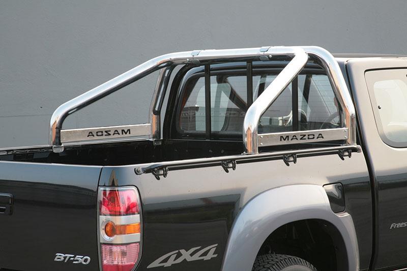 Rollbar en acero inox 76mm, con traviesa lateral para Mazda BT-50 2006-2009