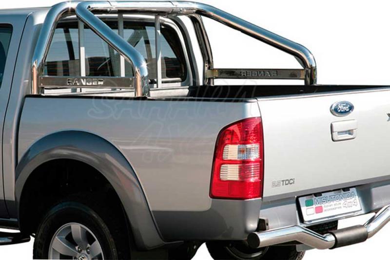 Rollbar en acero inox 76mm, con traviesa lateral para Ford Ranger 2006-2009 -