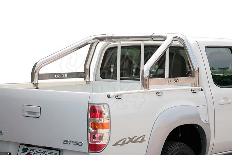 Rollbar en acero inox 76mm, con traviesa lateral para Mazda BT-50 2009-2012
