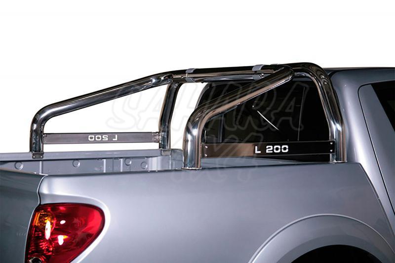 Rollbar en acero inox 76mm, con traviesa lateral para Mitsubishi L-200 Triton 2010-2015 - Para Doble cabina