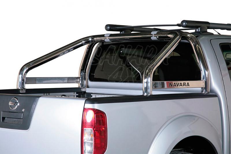 Rollbar en acero inox 76mm, con traviesa lateral para Nissan Navara D40 2010-2015 -