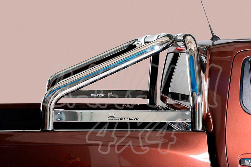 Rollbar en acero inox Ø76mm con traviesa lateral para Nissan Navara D23 - (no compatible con 3ª luz de freno)