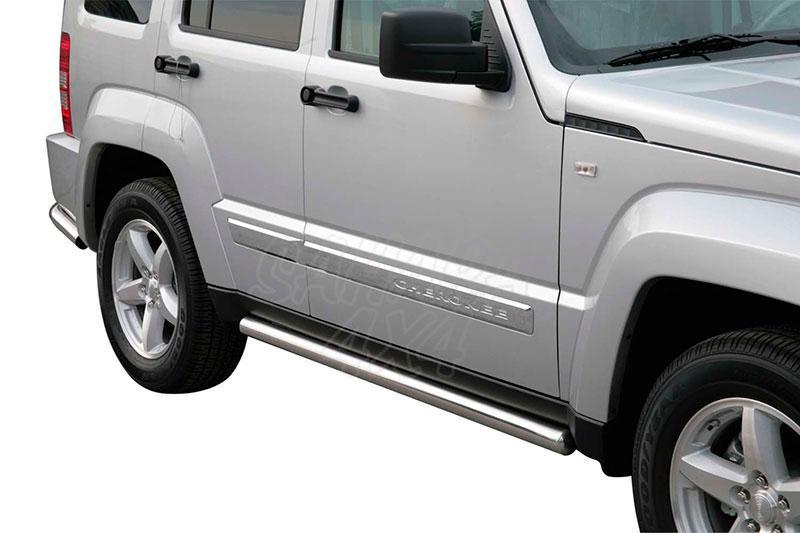 Estribos en tubo inox Ø63mm para Jeep Cherokee KK 2008-2014 -