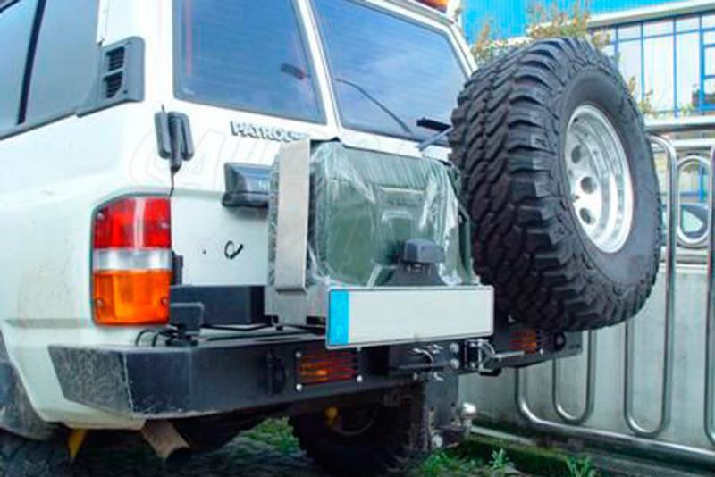 Parachoques trasero con doble soporte para rueda y bidón AFN para Nissan Patrol GR Y60 1988-1998 -