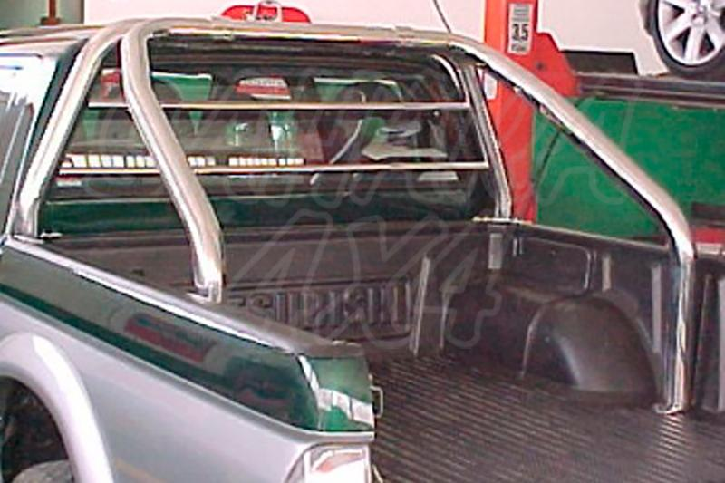 Rollbar (barras antivuelco) en tubo inox, con protección de cristal de cabina para Mitsubishi L-200  - Para L-200 2001-2006 (Doble cabina) Nota: El rollbar apoya en la caja.
