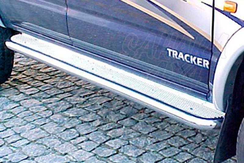 Estribos en plataforma de aluminio con tubo inox Ø60mm AFN para Toyota Hilux 2001-2005  - Para Doble cabina