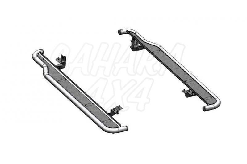 Estribos en plataforma de aluminio con tubo inox AFN para Opel Antara 2007-2011 -