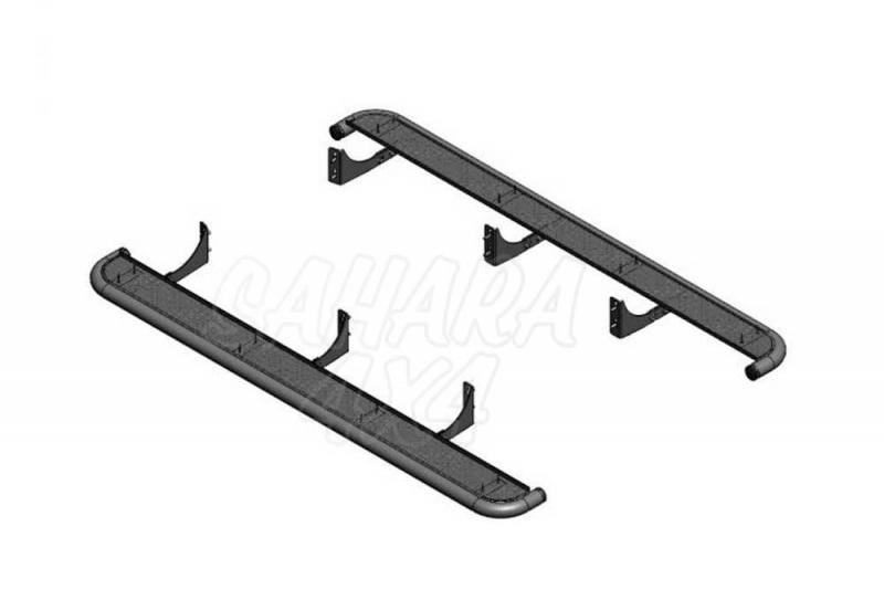 Estribos en plataforma de aluminio (gota) con tubo inox  para Ford Ranger/Mazda BT50 2006-2012 - Estribos en plataforma de aluminio (gota) con tubo inox (simple, doble and extra cab. 2006-2009; doble cab. 2009-)