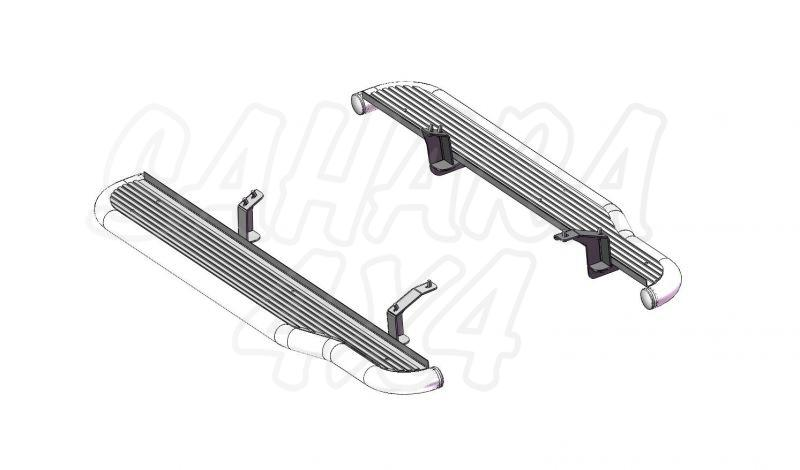 Estribos en plataforma de aluminio con tubo negro Ø50mm AFN para Toyota LandCruiser 155 -