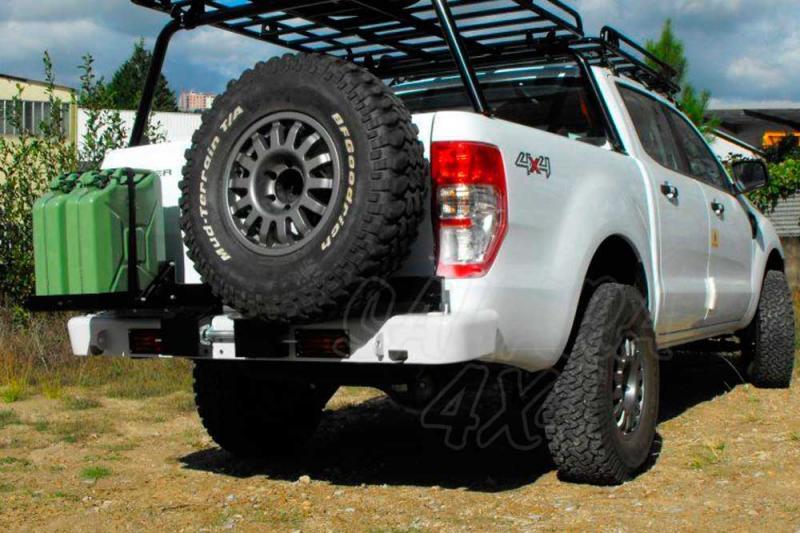 Parachoques trasero con doble soporte para rueda y bidón para Ford Ranger 2012- -