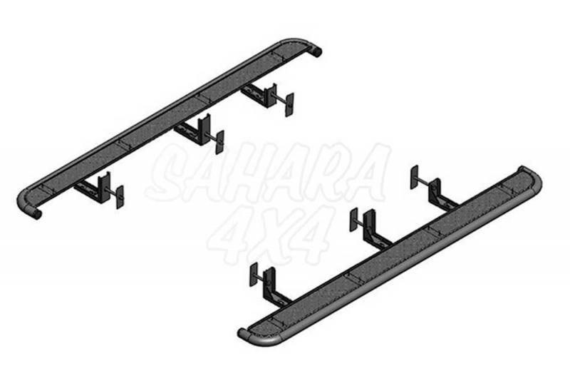 Estribos laterales en plataforma de aluminio con tubo inox para Ford Ranger 2012- -