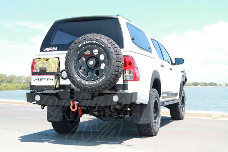 Parachoques trasero con doble soporte de rueda y bidón -