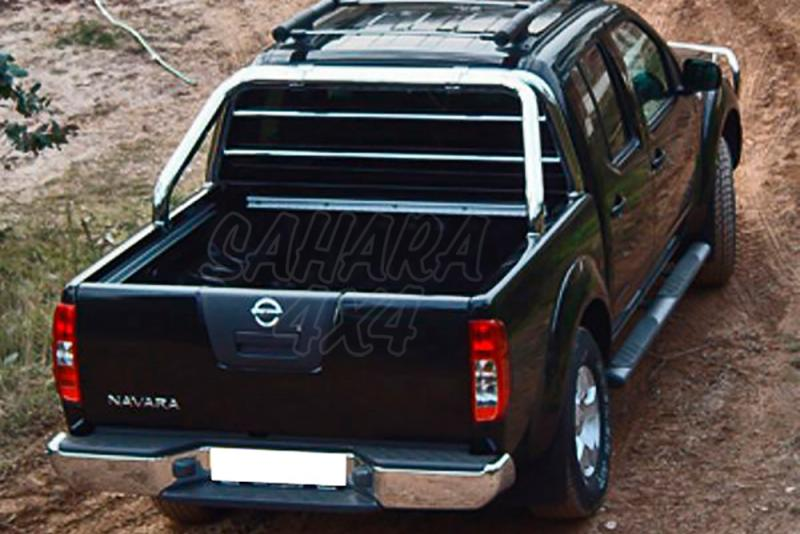 Rollbar en tubo inox Ø70mm, con protección de cristal de cabina AFN para Nissan Navara D40 2005-2015 -
