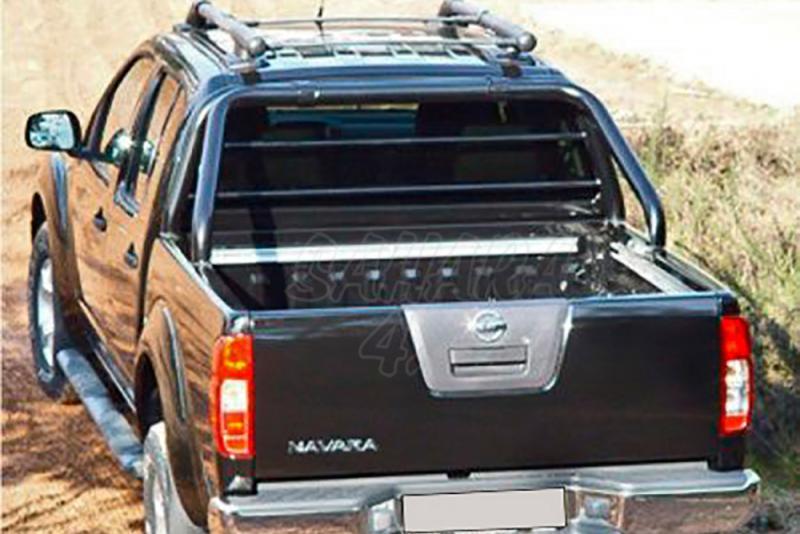Rollbar en tubo negro Ø70mm, con protección de cristal de cabina AFN para Nissan Navara D40 05-15 -