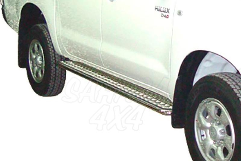 Estribos en plataforma de aluminio con tubo inox Ø38mm AFN para Toyota Hilux Vigo 2005-2016  - Para Doble cabina