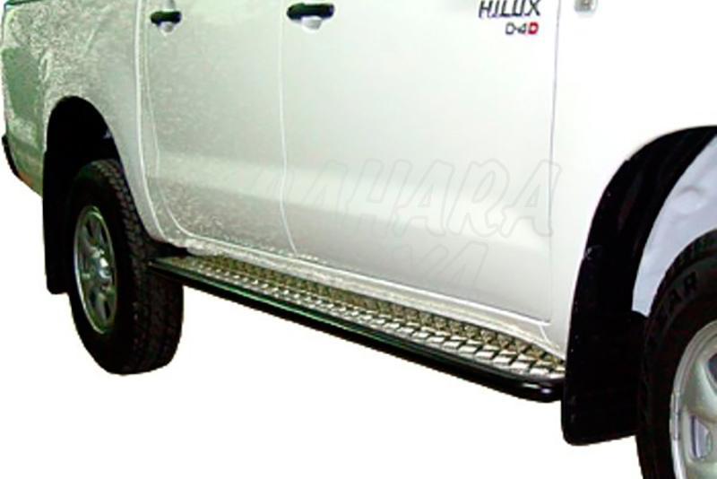 Estribos en plataforma de aluminio con tubo negro Ø38mm AFN para Toyota Hilux Vigo 2005-2016  - Para Doble cabina