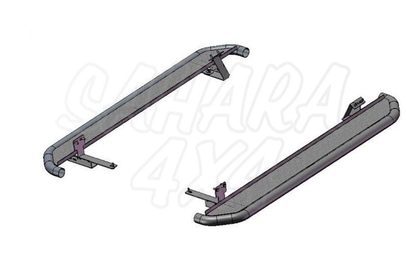 Estribos en plataforma de aluminio con tubo negro Ø50mm AFN para Suzuki Grand Vitara 2005-2008 - Para 3 puertas