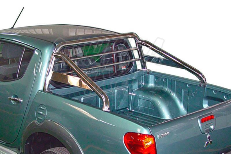 Rollbar en tubo inox, con traviesa lateral, con protección de cristal de cabina para Mitsubishi  - Para Mitsubishi L-200 Triton  2006-2015 (Doble cabina)